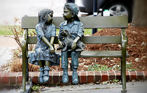Scupture in Ashworth Village. Photos by Hal Goodtree.