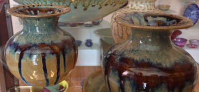 Sienna glaze on these vases is exclusive to Cary Pottery
