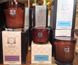 Aquiesse candles have scents ranging from pomegranite sage to monterey pine at Elizabeth's Home and Garden