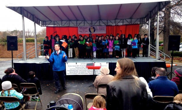 Cary Elementary on the portable stage braves the cold to perform