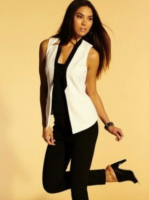 """Graphic black and white can be a mix of pieces. The sleeveless jacket is a """"must-have"""" completer piece"""