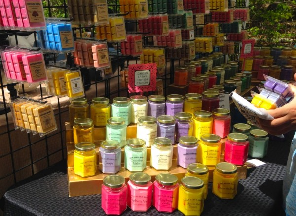 Colorful natural soaps and candles