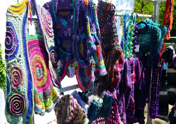 colorful knitted shawls