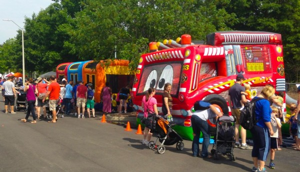 several train themed inflatables