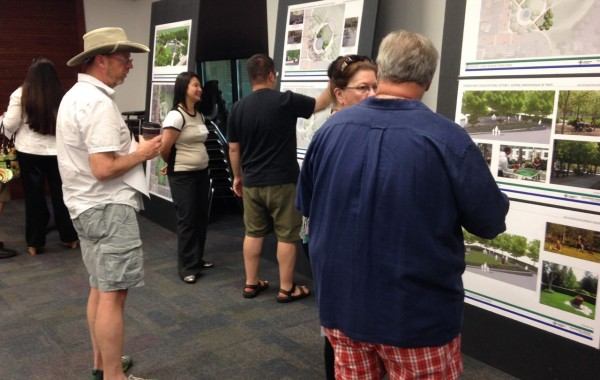 Citizens take a look at plans for the Downtown Park and fountain