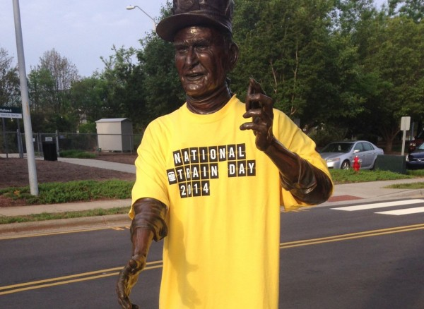 Statue at the Depot greets visitors