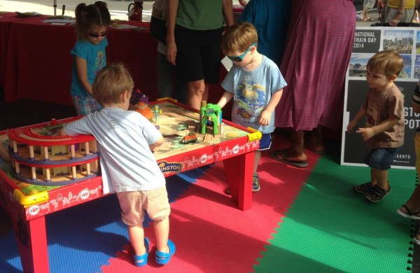 Kids enjoyed the train tables
