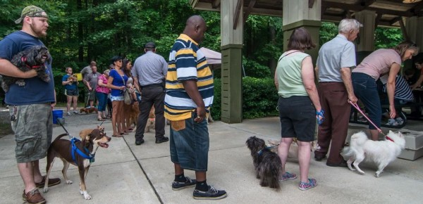 The line for micro-chipping at Kiwanis Shelter