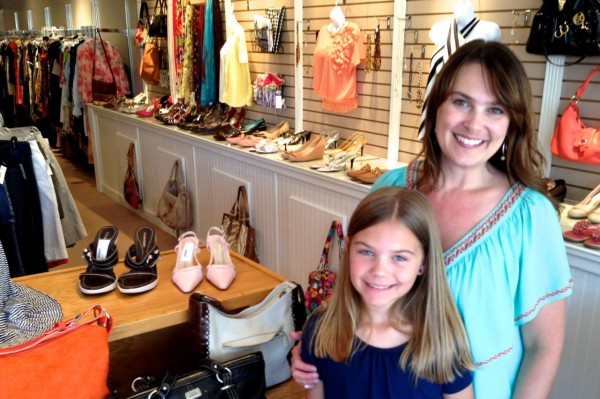 Rebecca Chapman and her daughter Peyton at her new store, Annie's Attic