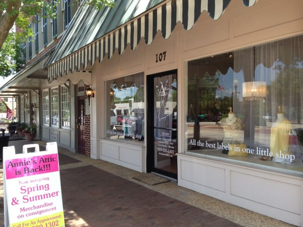 The Annie's Attic storefront on West Chatham Street in Downtown Cary