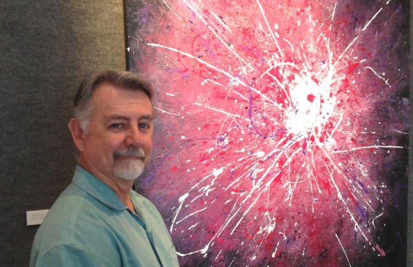 """Cary Artist Dan Campbell with his painting """"Epiphany"""""""