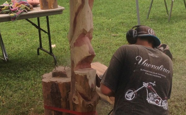 chainsaw art was demonstrated in one area on Academy Street