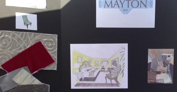 Sketches of interior design of the future Mayton Inn
