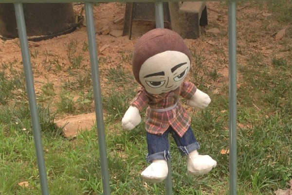 One of The Little Jerry dolls hidden around the festival
