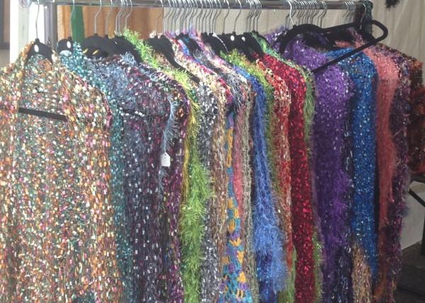 hand knot shawls on display