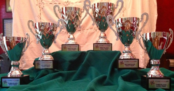 Trophies full of cash for 1st, 2nd and 3rd place teams