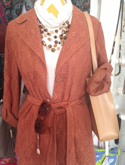 My Girlfriend's VCloset offers stylish consignment like this trench-styled lace jacket
