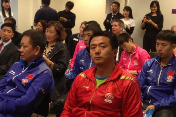 The athletes and audience at the press conference