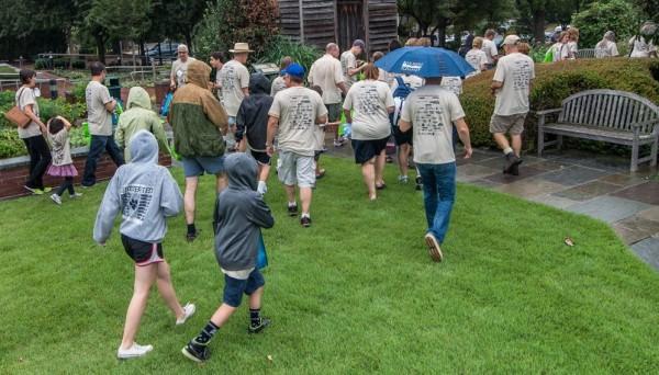 Teams departing in the rain