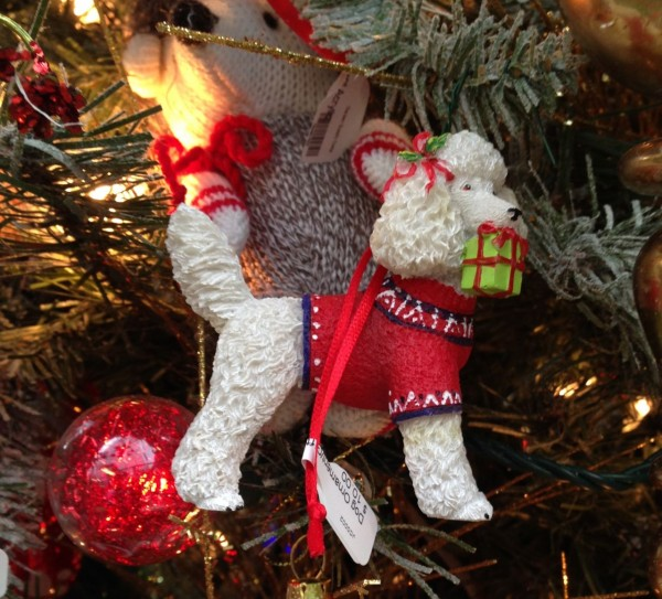 Ornaments with a pet theme are all grouped together on one tree this year