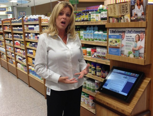 The computer in the wellness department can help shoppers learn about supplements and recipes to try for various dietary restrictions.
