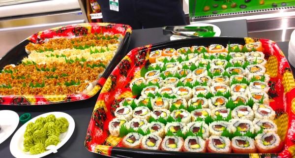 Samples of freshly made sushi rolls