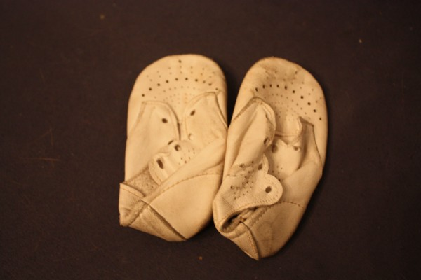 The actual pair of shoes that Saskia's mother saved from the 1945 air drop by American troops