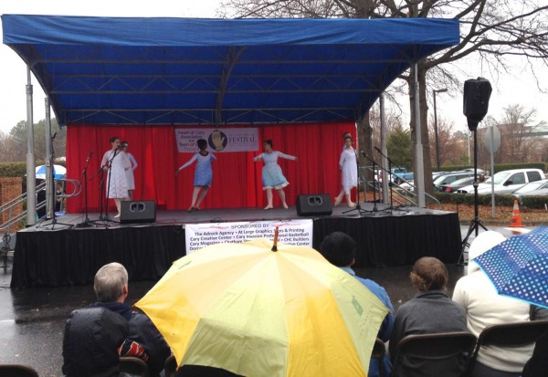 Graceful Expressions dancers perform on the Ole Time Winter Festival outdoor stage