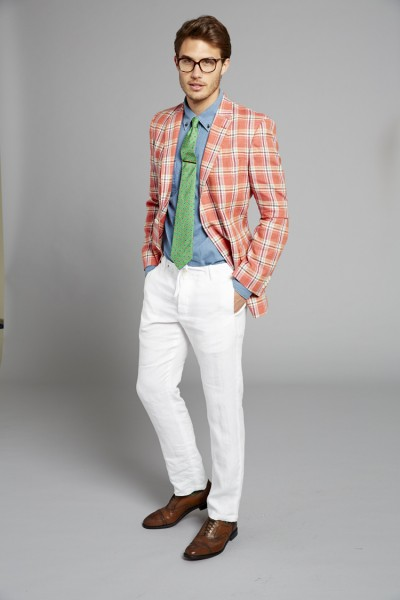 Tommy Hilfiger Plaid sport coat, paired with another most wanted: the white pant for men.