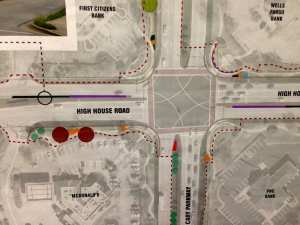 Close up of map depicting proposed changes to the intersection