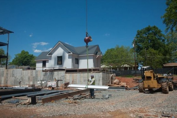 The Waldo Rood House was moved previously to the back of the property by the Town of Cary