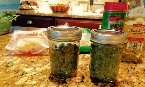 Pesto keeps very well in canning jars when topped with some olive oil to preserve that fresh flavor.