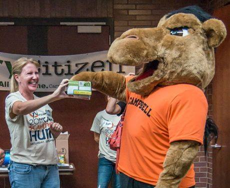 The Campbell University Camel drawing a raffle ticket for an iPad last year