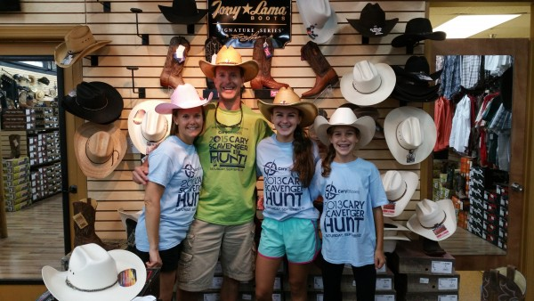 The Amazing Racers dressed up at the Country Connection Western Store
