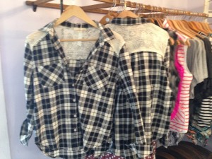 Lace mixed with plaid was seen at several stores- this one can be found at the Purple polka dot