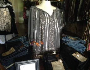 At Violets, a grey top gets some added sparkle