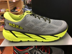 The newest trend in running shoes is with more rolling support. These shoes by Hoka can be found at Omega Sports in Park West Village starting at about $100.