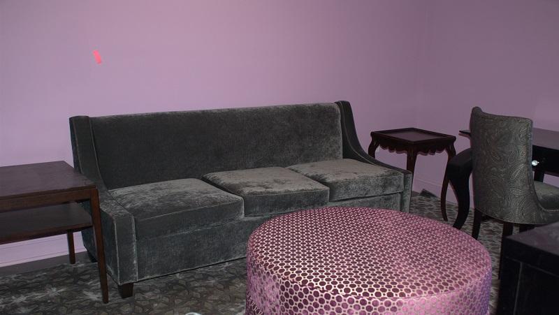 A purple room.