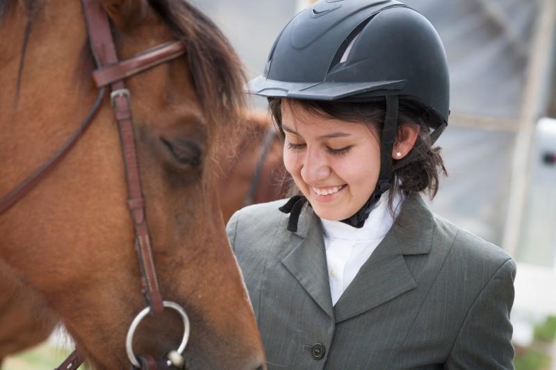 smiling girland horse