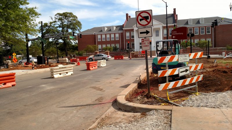 The Academy/Dry Street intersection is set to open back up in May to correspond with the Academy/Chatham closure. Photo by Michael Papich.