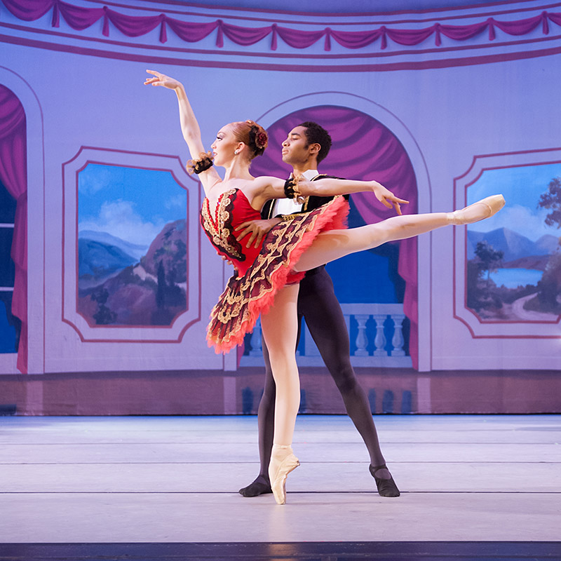Peyton Anderson, performing the lead role in Paquita with Bryce Mitchell, a student at the Boston Ballet Academy.
