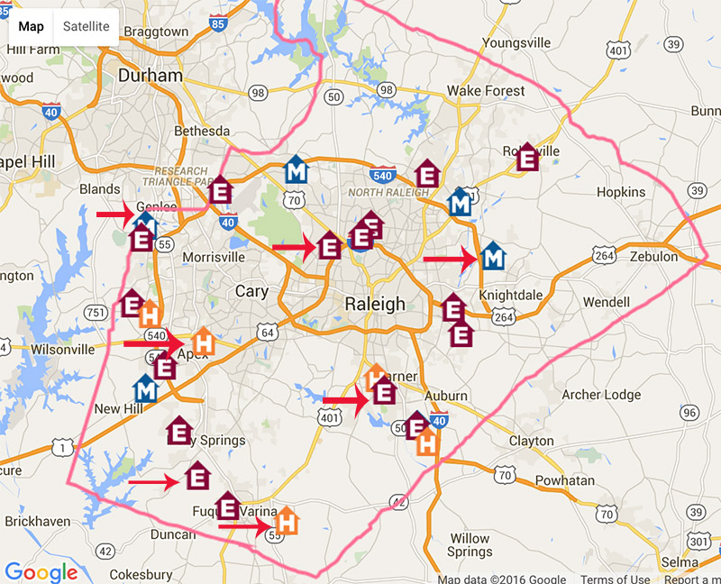 A map of new schools and schools set for construction updates in Wake County. Future programs indicated with arrows.