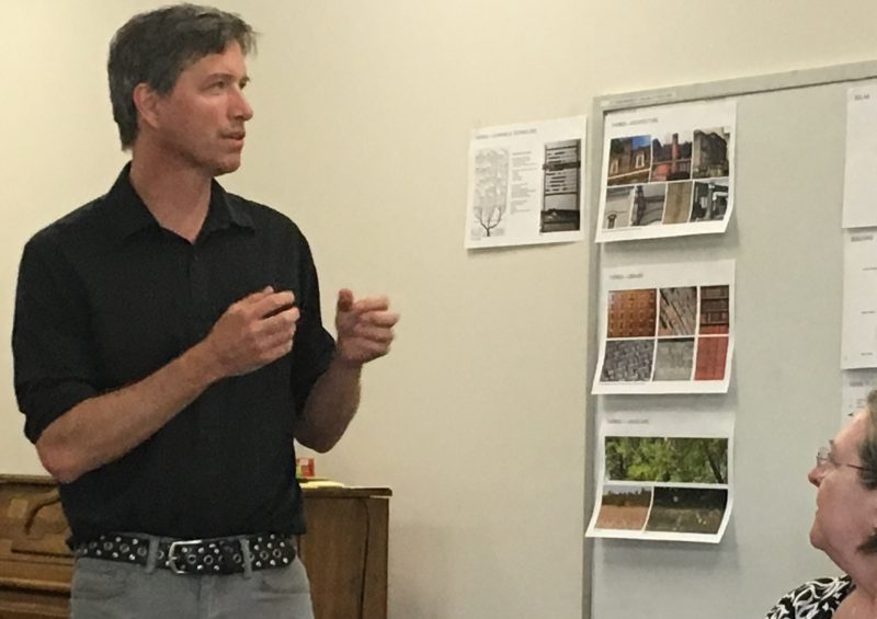 Artist Tom Drugan, of Haddad Drugan, presents early concepts for the future Downtown parking deck