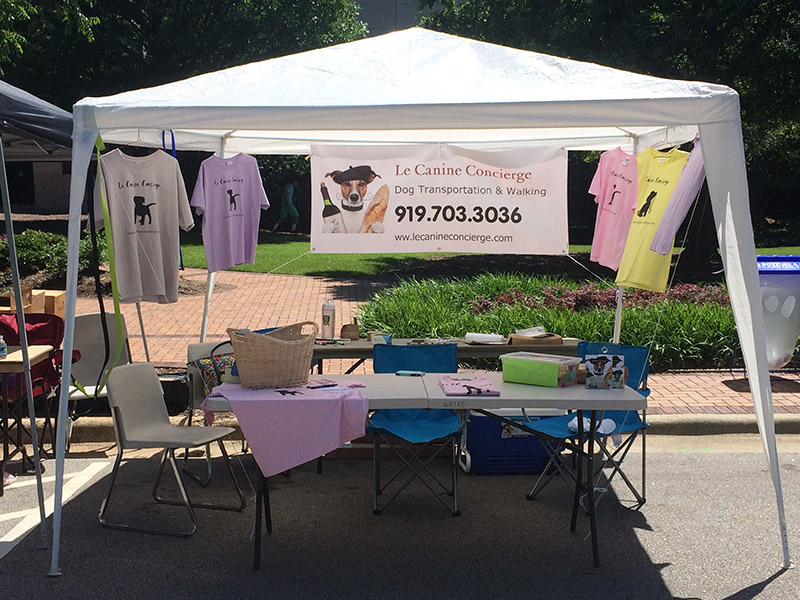 Le Canine Concierge's tent from their first public appearance at Ritmo Latino.