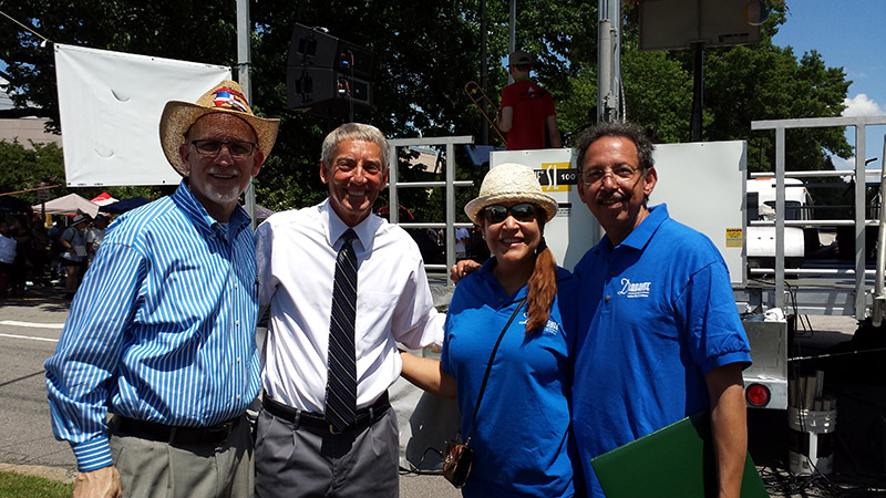 Cary Mayor Harold Weinbrecht at the Ritmo Latino Festival with Cary town councilmember Ken George, a member of the Diamante board and Diamante President David Flores.
