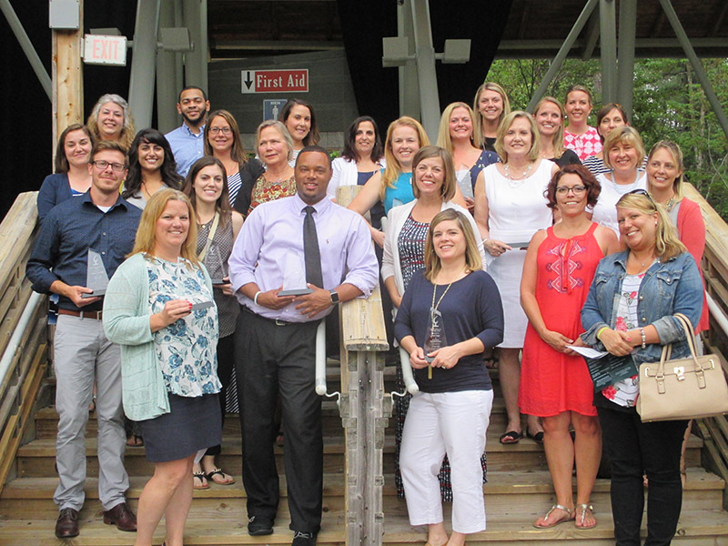 """Some of the teachers who received awards as part of the Cary Chamber's """"Honor a Teacher"""" event"""