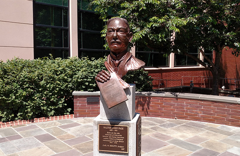 A bust of Walter Hines Page at the Cary Police Station.