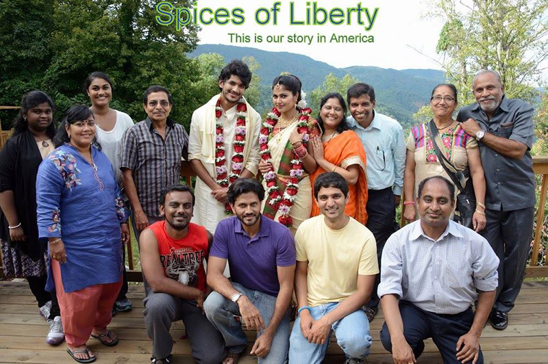 Cast and crew from Spices of Liberty. Goli is standing in the center in light blue.