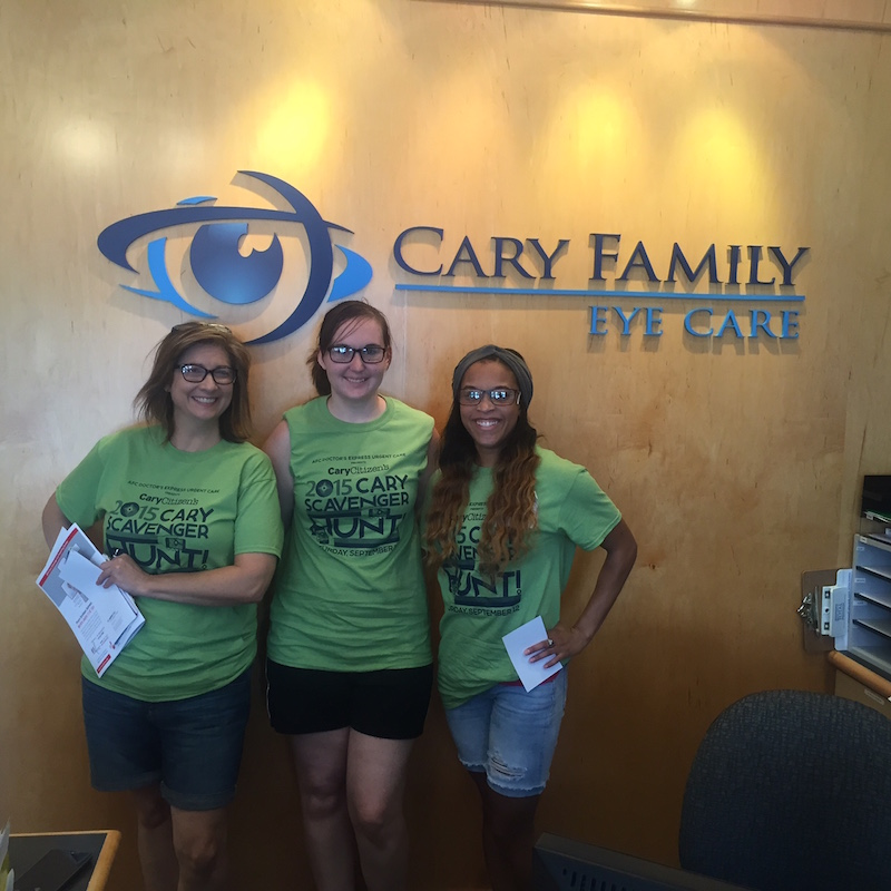 Here's team The Brainy Bunch visiting returning sponsor, Cary Family Eye Care in 2015.