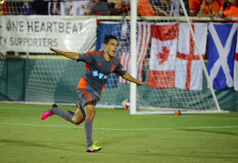 Omar Bravo at his first official RailHawks game